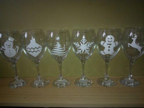 6 x Christmas Vinyl Decal Stickers Glitter Wine Glass DIY Choice of Set