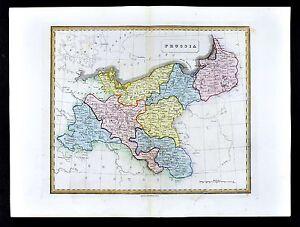 1839 Allan Bell Atlas Map Prussia Germany Poland Berlin Danzig