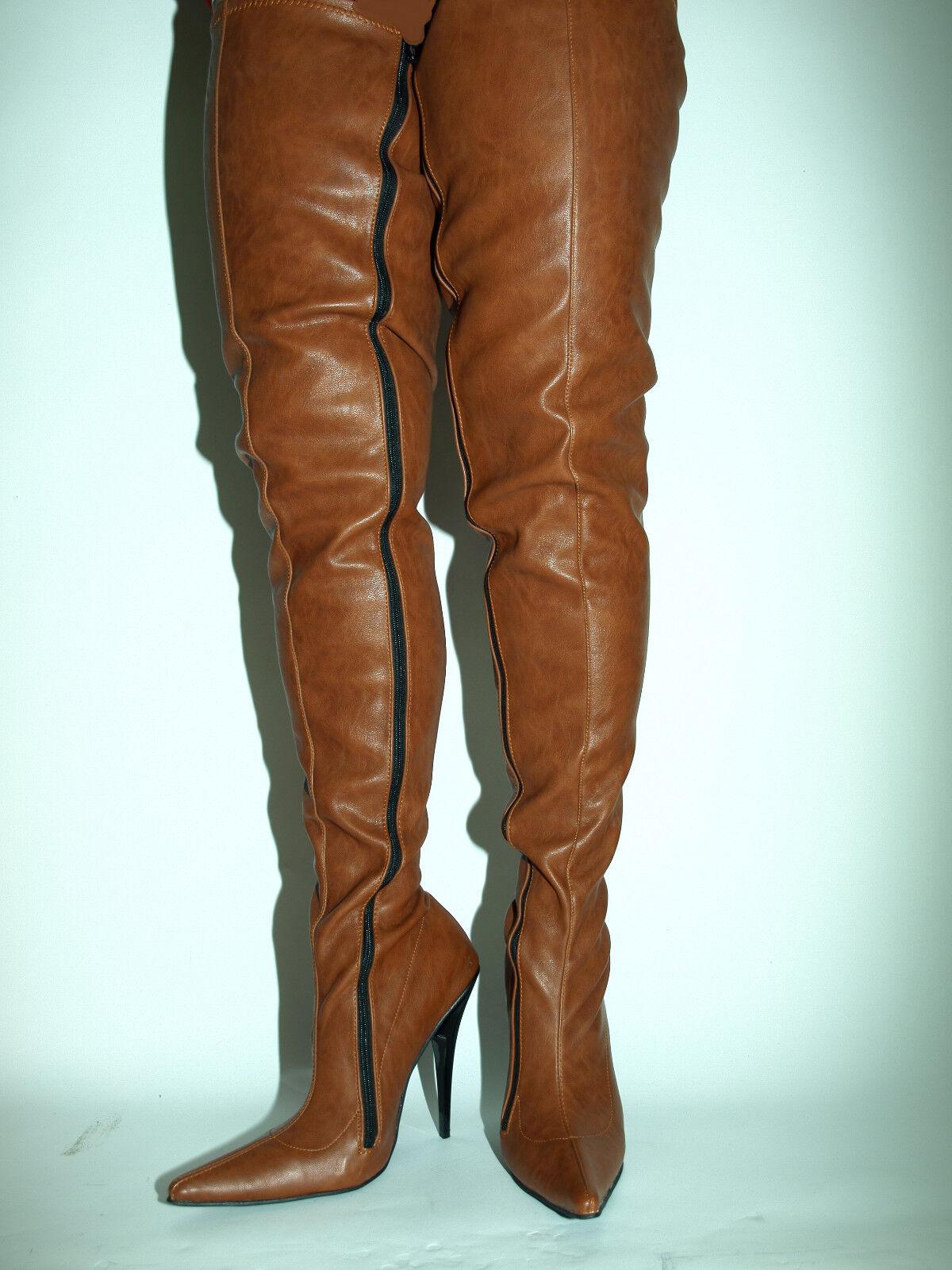 Piel sintética marrón heel 13cm Talla 35-47 - fashion style bolingier Poland