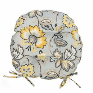 Set Of 2 16 Outdoor Round Bistro Chair Cushions W Ties Gray Yellow