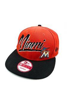 New Era 9Fifty Miami Marlins Snap Back Baseball Cap Hat Orange Black Genuine MLB