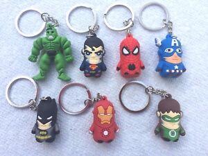 Capt Batman Hulk Superman America  US Seller Superhero Keychains Spiderman