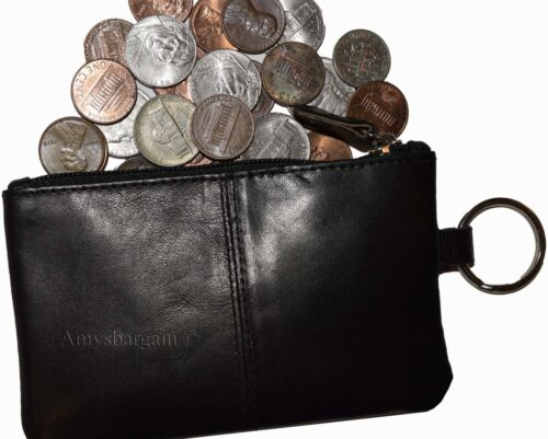 Zip coin wallet 2 pocket coin case w// key rings Lot of 3 Leather change purse