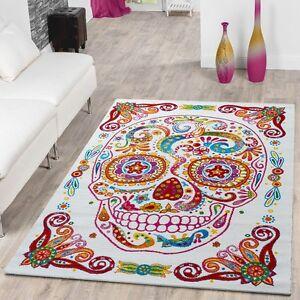 Das Bild Wird Geladen Teppich Modern Designer Teppich Bunt  Totenkopf Skelett Design