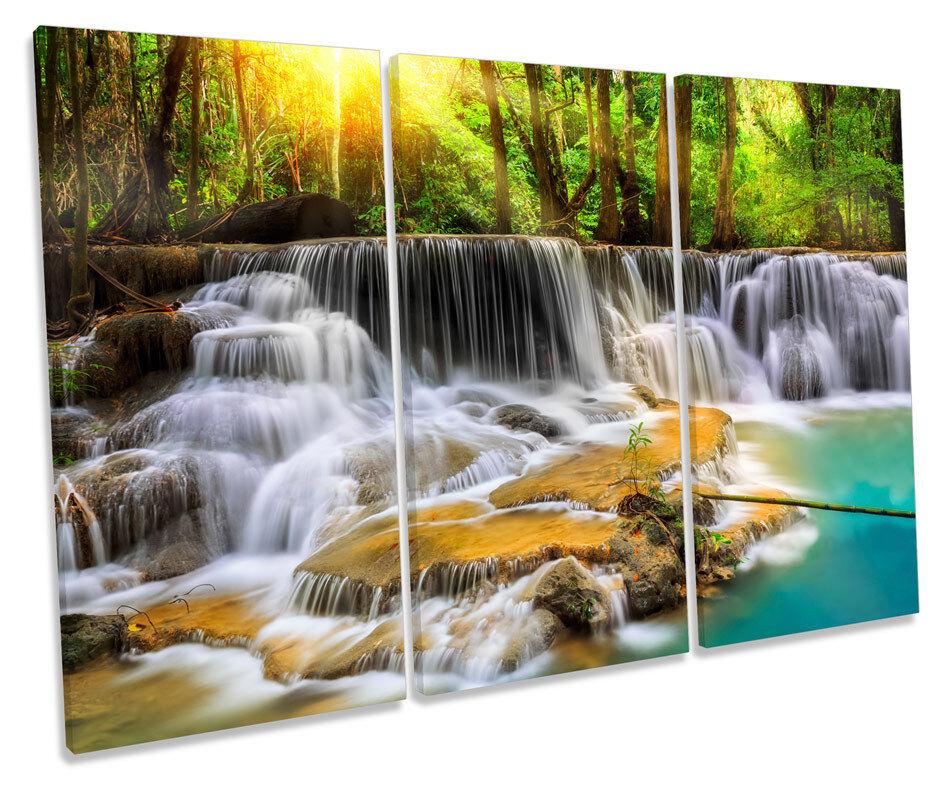 ARTE de pared de lona triple paraíso cascada cascada paraíso bosque cuadro enmarcado impresión d29d11