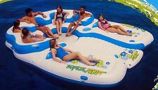 Huge Inflatable Floating Island 7 Person Raft Lake Float Cooler Tropical Tahiti