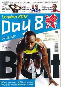 OLYMPIC GAMES DAY 8 EIGHT DAILY PROGRAMME LONDON 2012