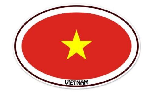 "Vietnam Euro Flag Oval car window bumper sticker decal 5/"" x 3/"""