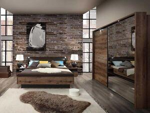 das bild wird geladen schlafzimmer jacky komplett bett kleiderschrank mit beleuchtung nachttische