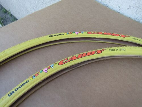 2 NEW  700 X 24 C  BICYCLE YELLOW TIRES ROAD TUBES /& 2 FIXIE LINERS 2