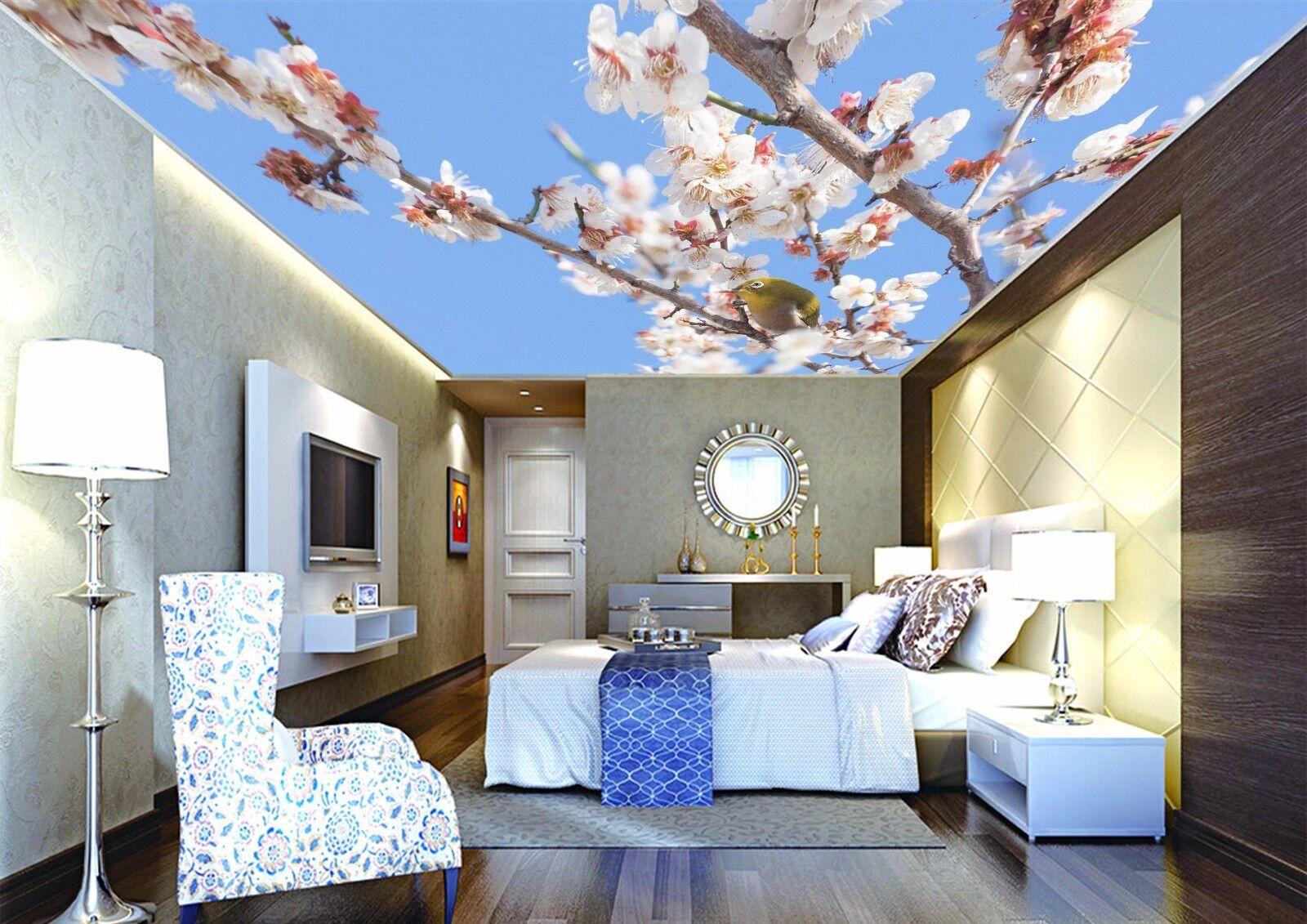3D Peach Blossom Cute Bird 5 Ceiling Wall Paper Print Wall Indoor Wall Murals CA