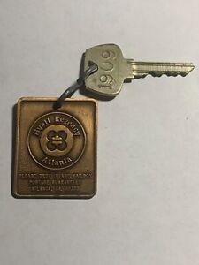 Hyatt Regency Hotel Motel Room Key BRASS Fob with Key Atlanta Georgia #1909
