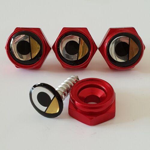 SMART BLACK License plate screws Frame Bolt Cap Cover Emblem Universal RED