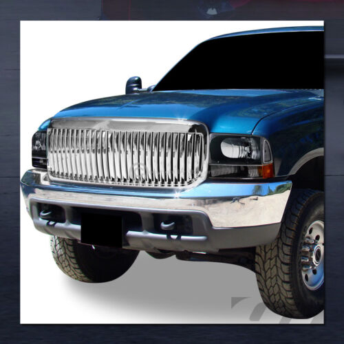 For 1999-2004 Ford F250//Excursion Chrome Vertical Front Hood Bumper Grill Grille