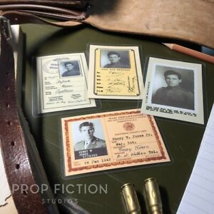 Details about Indiana Jones - Prop Wartime Issue Identification Cards / WWI  & WWII Cosplay IDs