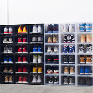 Details about 6-12 Clear Magnetic Drop Front Shoe Box Sneaker Rack Storage Organizer Stackable