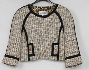 Joseph-Ribkoff-Cropped-Tweed-Jacket-Shrug-Brown-Ivory-Black-Size-6-NEW-279
