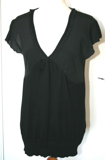 OASIS UK16 EU44 BLACK KNITTED TOP WITH SILK CAP SLEEVES AND BUSTLINE - NEW