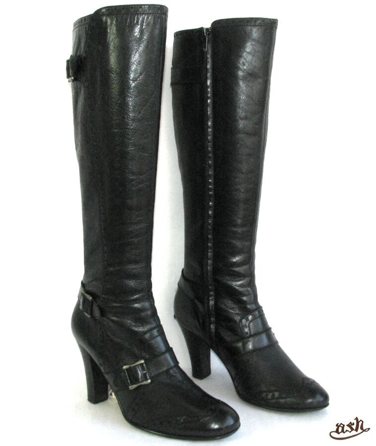 ASH - BOOTS HEELS 9 CM ALL LEATHER BLACK 39 - VERY GOOD CONDITION