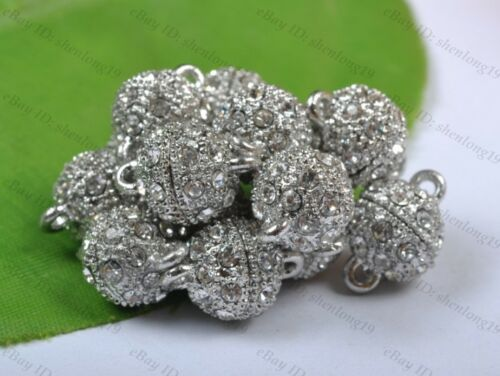 5Sets Silver//Gold Plated Crystal Powerful Magnet Clasps Jewelry Findings