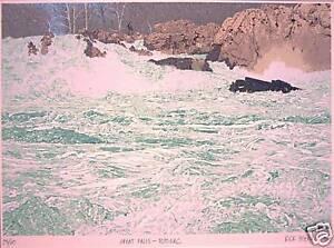 "Rick Biehl: ""Great Falls-Potomac"" Original Signed Litho"
