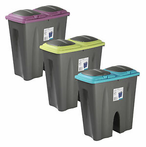 Double-Recycling-Waste-Bin-Duo-Rubbish-Plastic-Cardboard-Disposal-2-x-25-Litre