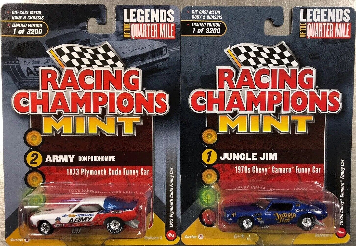 RACING CHAMPIONS MINT 1970s CHEVY CAMARO FUNNY CAR & 1973 PLYMOUTH CUDA LOT OF 2