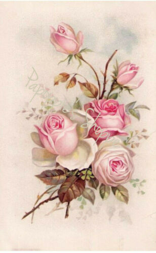 Fabric Block French Victorian Pink Roses Chic and Shabby Bouquet Floral