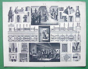 IRON-MANUFACTURING-Furnaces-Rollers-1844-SUPERB-Antique-Print