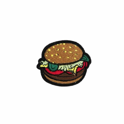 Hamburger Iron on Embroidery Applique Patch Sew Iron Badge