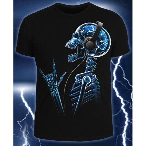 """T-Shirt Hommes /""""X-Skeleton/"""" avec pression UV Actif noir lumière Neon"""