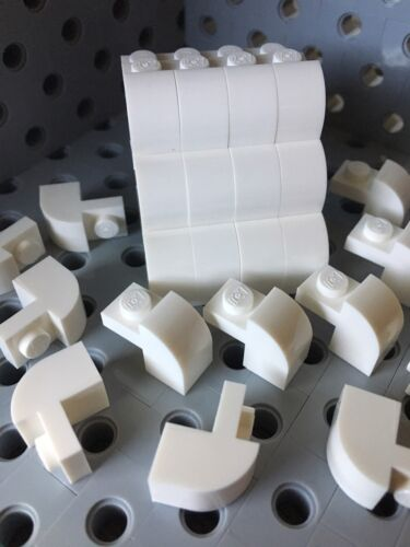 LEGO New Lot Of 24 White Bricks Rounded With Arch 1x1x1 1//3 Building Roof
