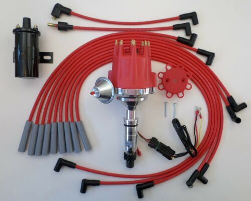 PLUG WIRES 45,000 COIL Small Cap BUICK NAILHEAD 401 425 RED HEI Distributor