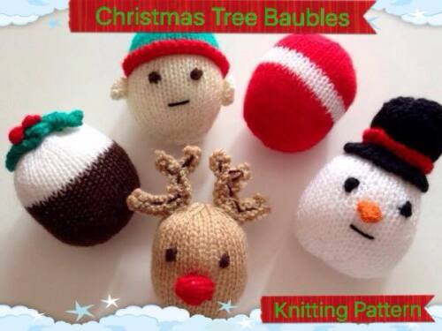 KNITTING  PATTERN Christmas Tree Decorations baubles