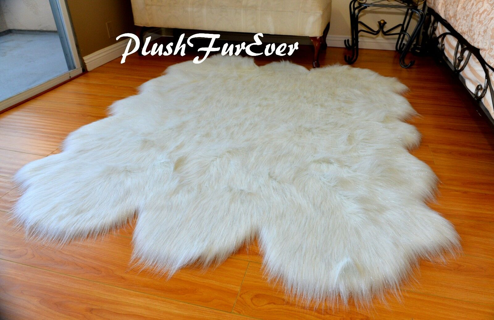 60 x 72 Weiß Sparkle Tinsel Faux Fur Fur Fur Sheepskin Sixto Pelts Plush Furry Area Rug d04885