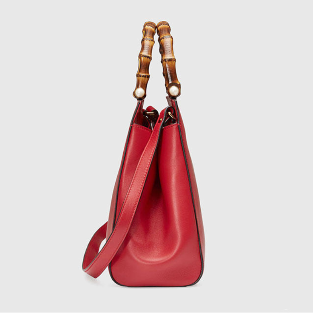 2ae15727d24 Gucci Women s Nymphaea Bamboo Top Handle Leather Bag Hibiscus Red 490 for  sale online