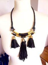 Black Gold Tassel Fringe Ethnic Bohemian African Zara  style Necklace