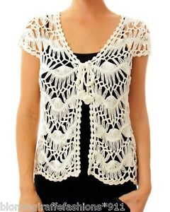 04f682ddf4831 Creamy Ivory Open Crochet Cap Sleeve Tie Front Shrug Cover-Up ...