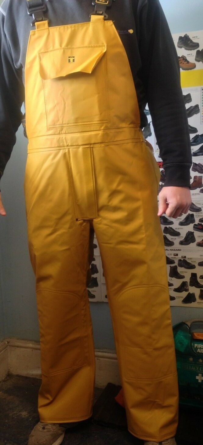 GUY COTTEN BIB AND BRACE WITH FLY YELLOW TROUSERS WATERPROOF free p&p