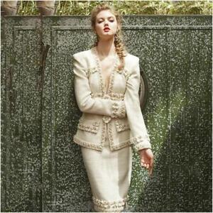 Frakke Klassiske Blazer Jakke Frayed Kvinders Blomster Outwear Vinter Jacket Tweed 2017 8Hq14wx