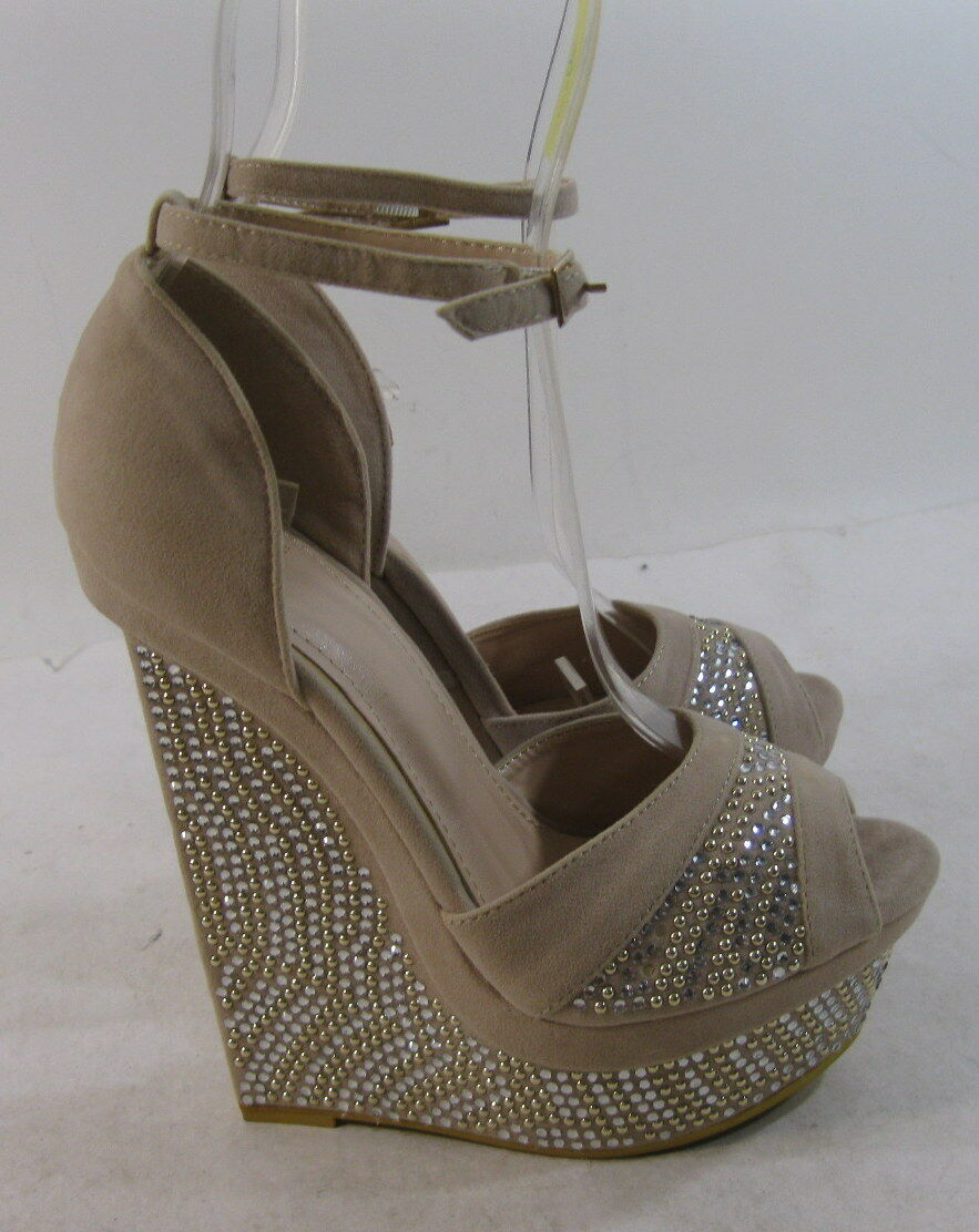 Skintone Rhinestone 6  High Wedge Heel 2  Platforms Sandals Sexy shoes Size 6.5