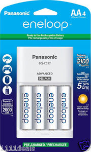 Panasonic-Charger-with-4-AA-Eneloop-2000mAh-NiMH-Batteries-Free-case
