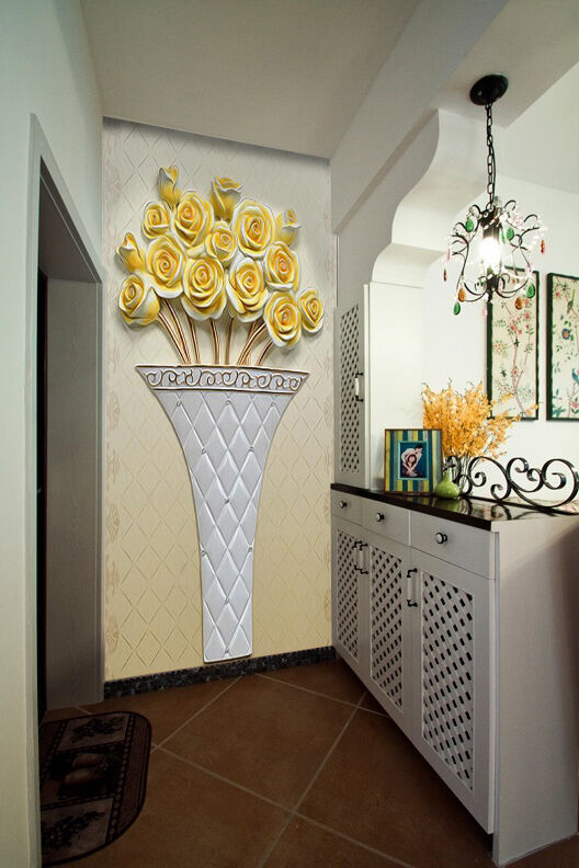 3D Carved Flowers Vase 237 Wallpaper Decal Decor Home Kids Nursery Mural  Home