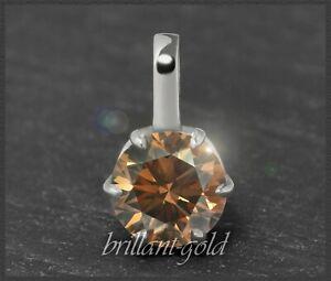 Diamant-Damen-585-Gold-Anhaenger-Brillant-1-01ct-braun-Si-14-Karat-Weissgold