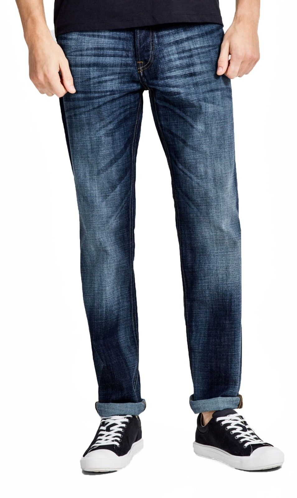 JACK & JONES Jeans Mens Clark Regular Fit Straight Denim Pants GE255 Blau Rinsed