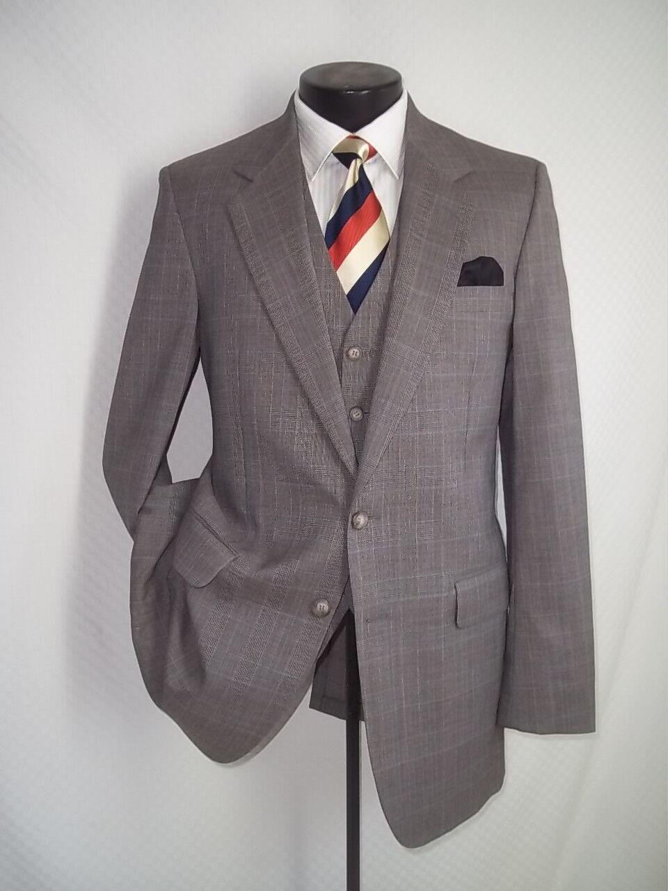 3 Piece Austin Manor Beige Plaid Wool blend 2 Buttons Suit 40LPant 34