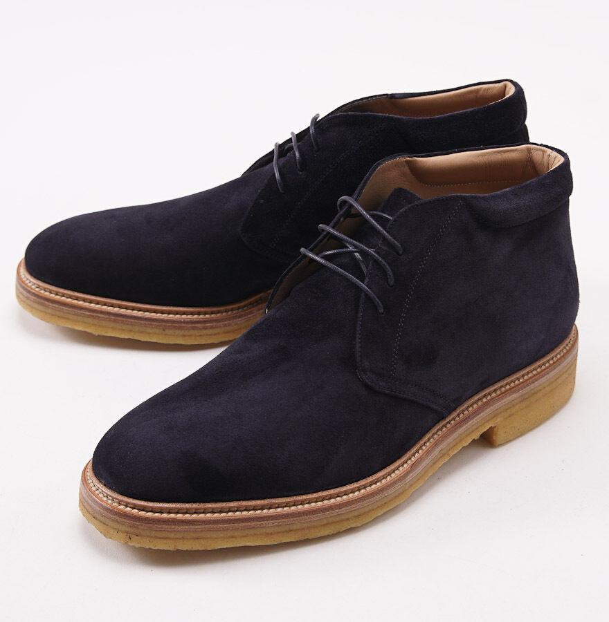 Nuevo En Caja  KITON Navy azul Suede Storm-Welt Chukka botas al Tobillo Zapatos US 9