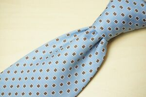 Brioni Baby Blue Cinnamon Geometric 100% Silk Hand Made CURRENT Tie