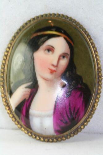 Vintage unsigned Antique Italian Mythological   style porcelain painted brooch  #