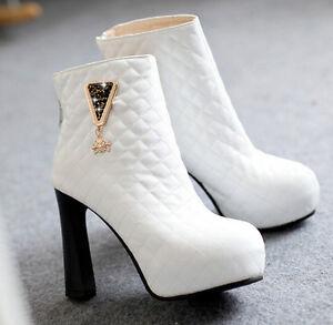 Détails sur Bottes Hiver Confortable Chaussures pour Femmes Talon 10.5 cm Blanc 8771